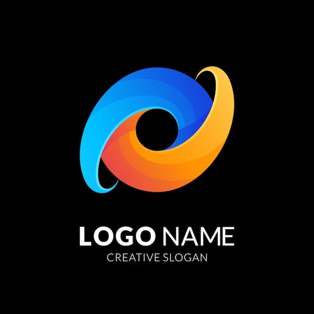 Design do logotipo da letra o, estilo moderno do logotipo em gradiente de cor azul e amarelo Vetor Premium
