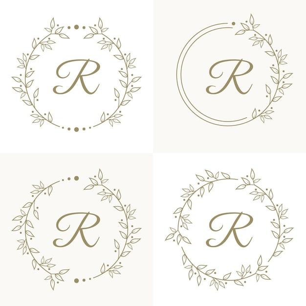 Design do logotipo da letra r de luxo com modelo de fundo de moldura floral Vetor Premium