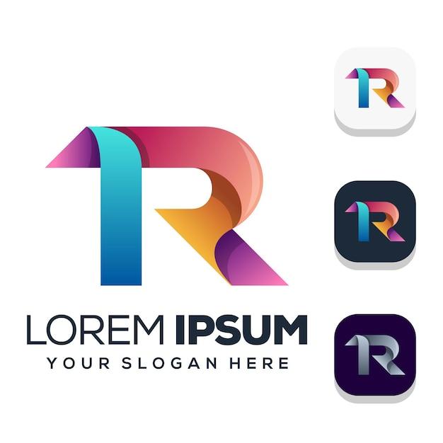 Design do logotipo da letra r Vetor Premium