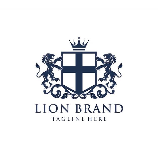 Design do logotipo da marca heráldica lion Vetor Premium