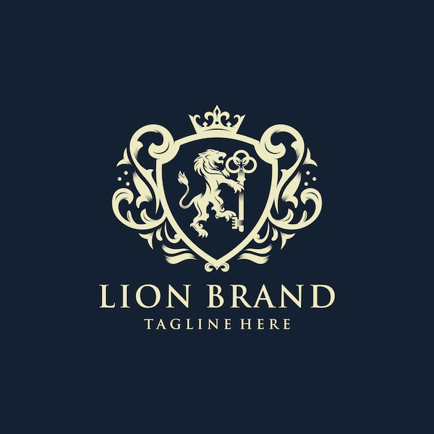 Design do logotipo da marca heráldica lion Vetor Premium