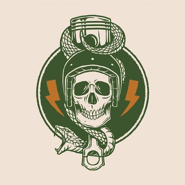 Design do logotipo da motocicleta do vintage Vetor Premium