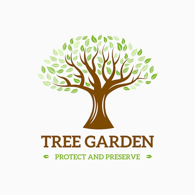 Design do logotipo da tree life Vetor Premium