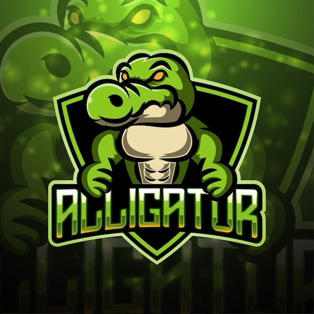Design do logotipo do mascote alligator esport Vetor Premium