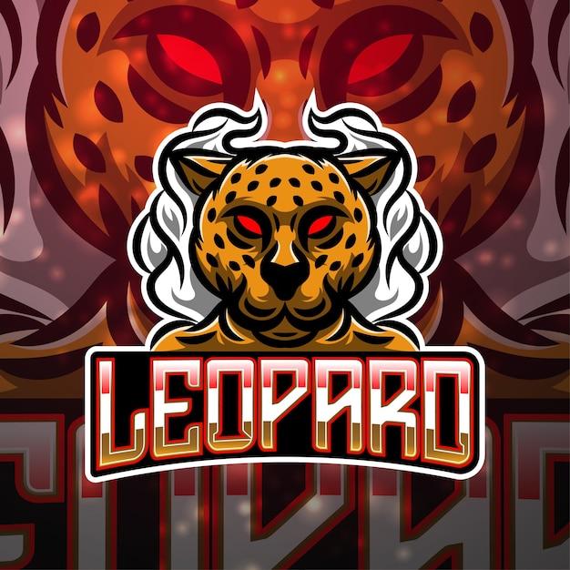 Design do logotipo do mascote do esporte leopardo Vetor Premium