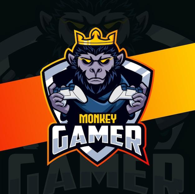 Design do logotipo do mascote do jogador do chimpanzé macaco esport Vetor Premium