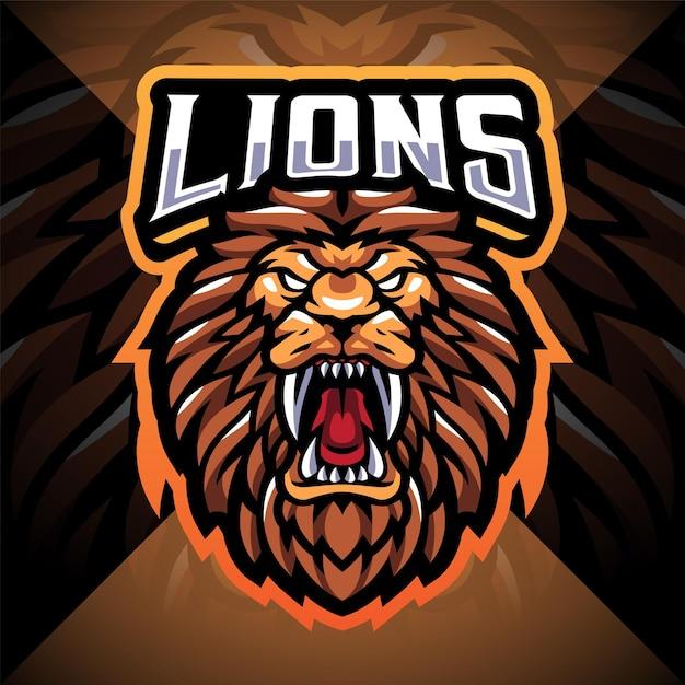 Design do logotipo do mascote do lion head Vetor Premium