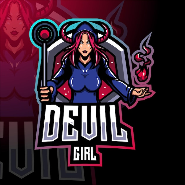 Design do logotipo do mascote esport do devil girl Vetor Premium