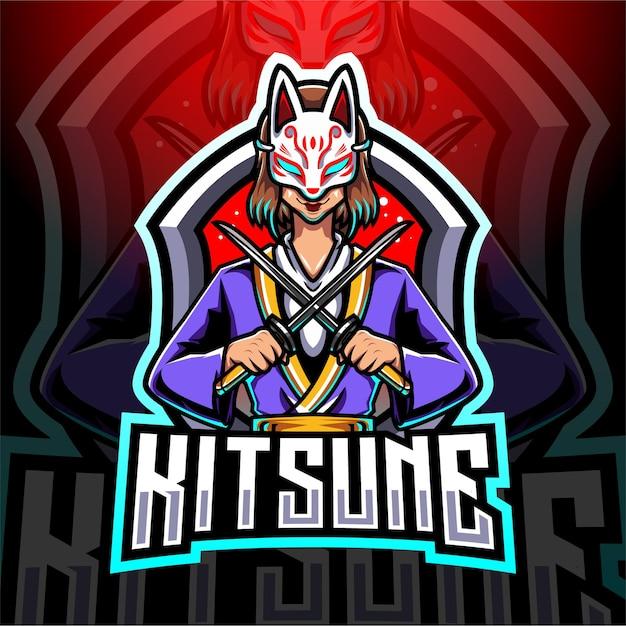 Design do logotipo do mascote kitsune girl esport Vetor Premium