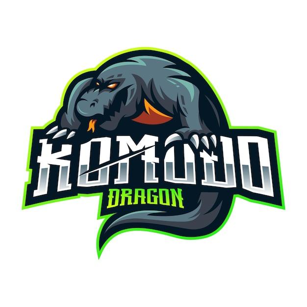 Design do logotipo do mascote komodo dragon esport Vetor Premium