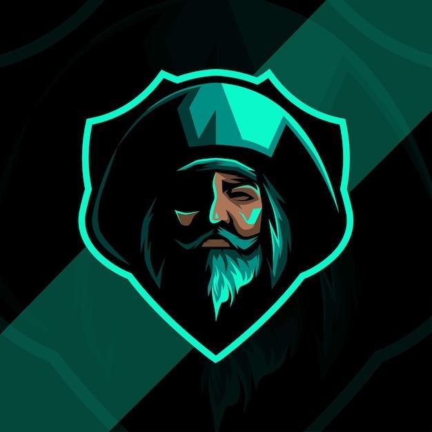 Design do logotipo do mascote verde dos piratas Vetor Premium
