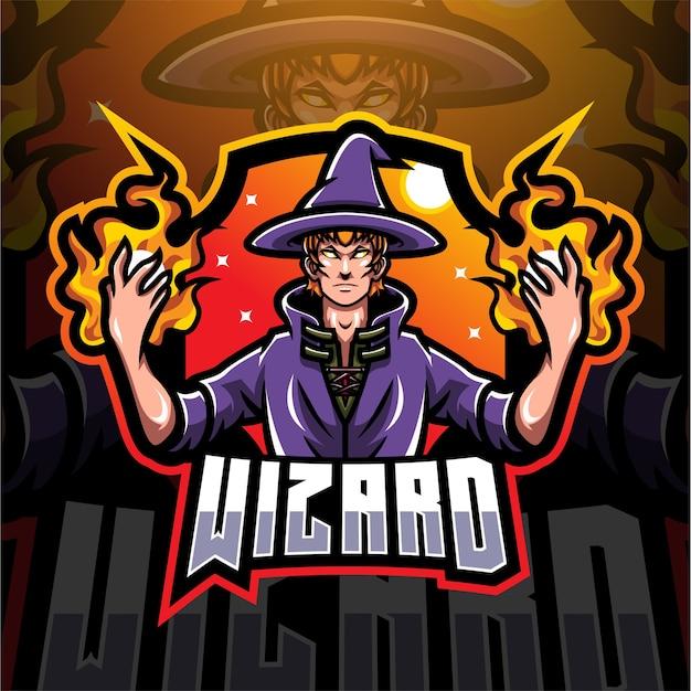 Design do logotipo do mascote wizard esport Vetor Premium