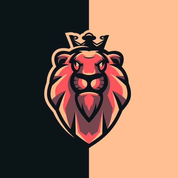 Design do logotipo do rei leão com Vetor Premium