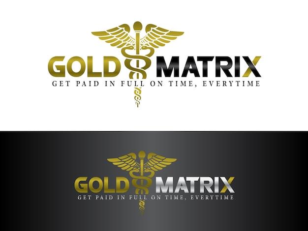 Design do logotipo do serviço de cobrança médica Vetor Premium
