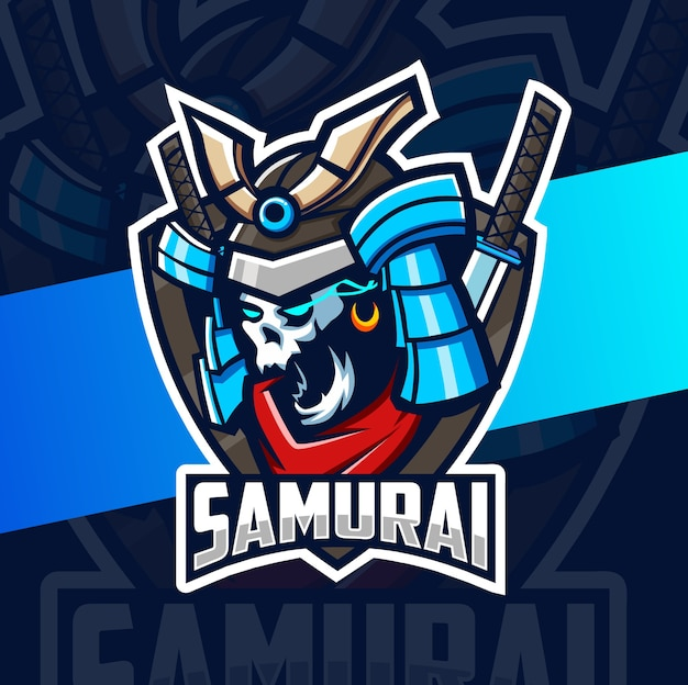Design do logotipo esport do mascote do crânio de samurai escuro Vetor Premium