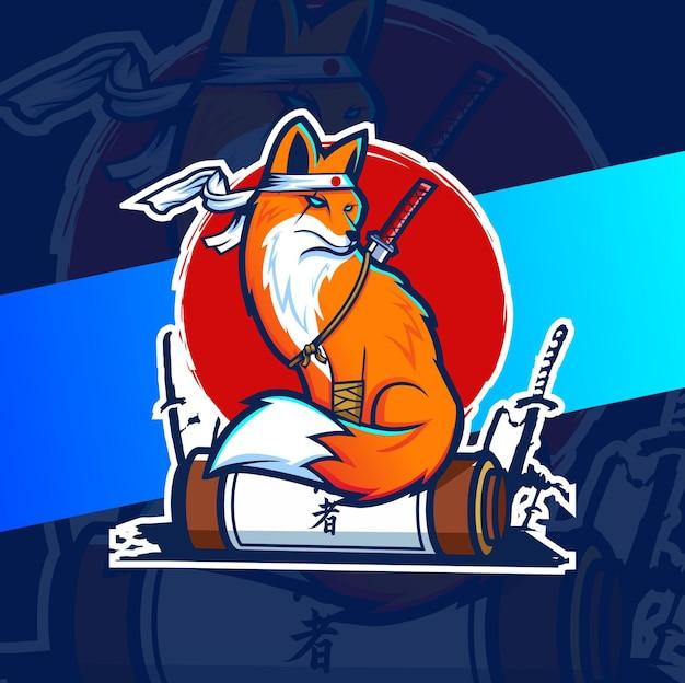 Design do mascote raposa do japão para logotipo do esporte e do jogo Vetor Premium