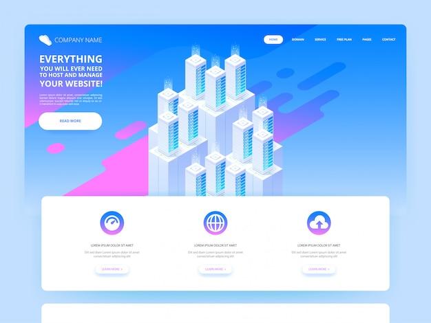 Design do site. grande data center e tecnologia de armazenamento em nuvem. Vetor Premium