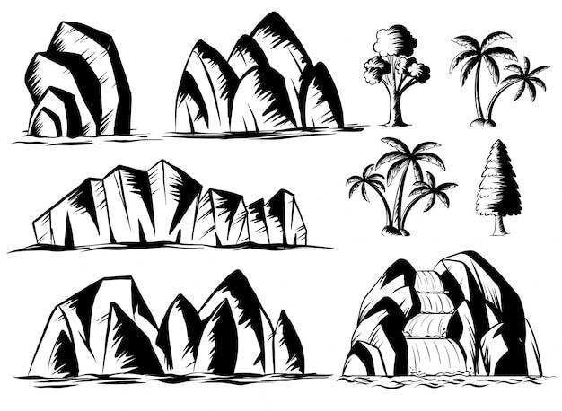 Design doodle para montanhas e árvores Vetor grátis
