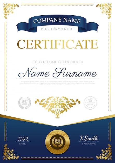 Design elegante de certificado Vetor grátis