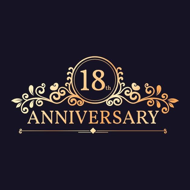 Design elegante do logotipo do 18º aniversário Vetor Premium