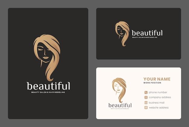 Design elegante do logotipo do cabeleireiro / mulheres da beleza com modelo de cartão de visita. Vetor Premium