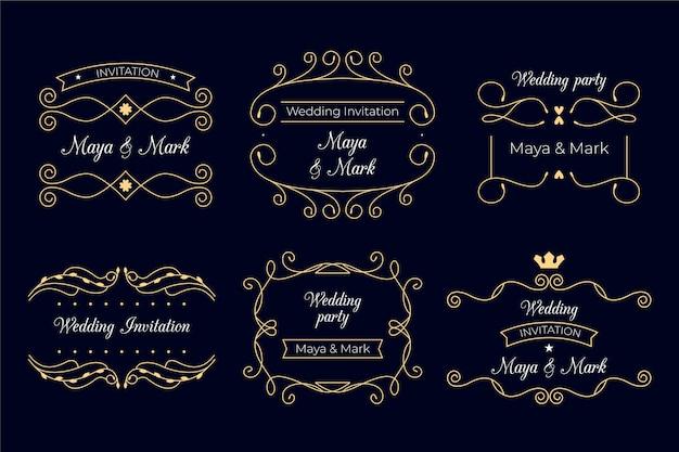 Design elegante dos monogramas do casamento Vetor grátis