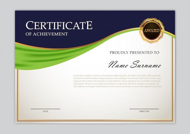 Design elegante modelo de certificado Vetor Premium