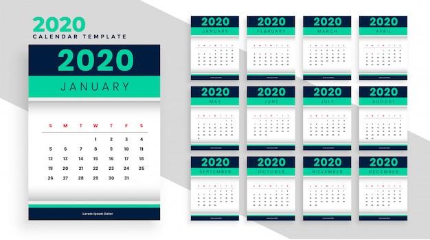Design elegante modelo de layout de calendário de ano novo para 2020 Vetor grátis