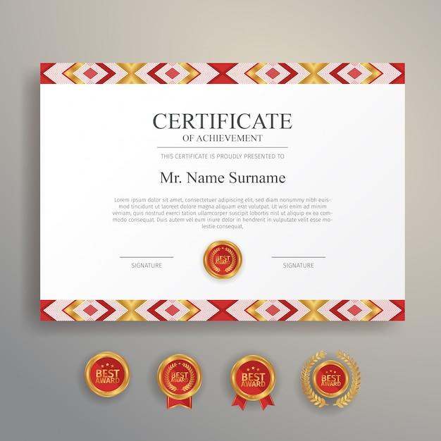 Design étnico de certificado na cor vermelha e dourada com distintivo e borda de ouro Vetor Premium