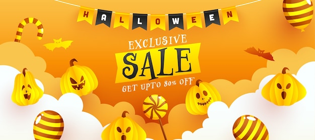 Design exclusivo de banner de venda de halloween com 80% de desconto Vetor Premium