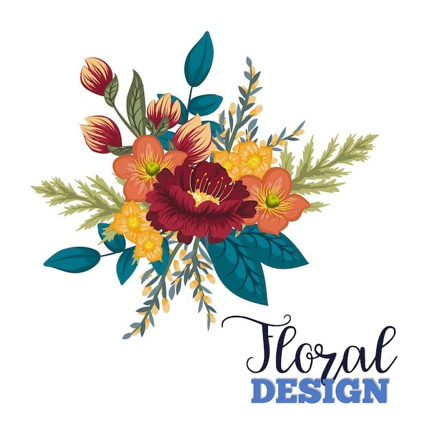 Design floral bonito. ilustração vetorial Vetor Premium