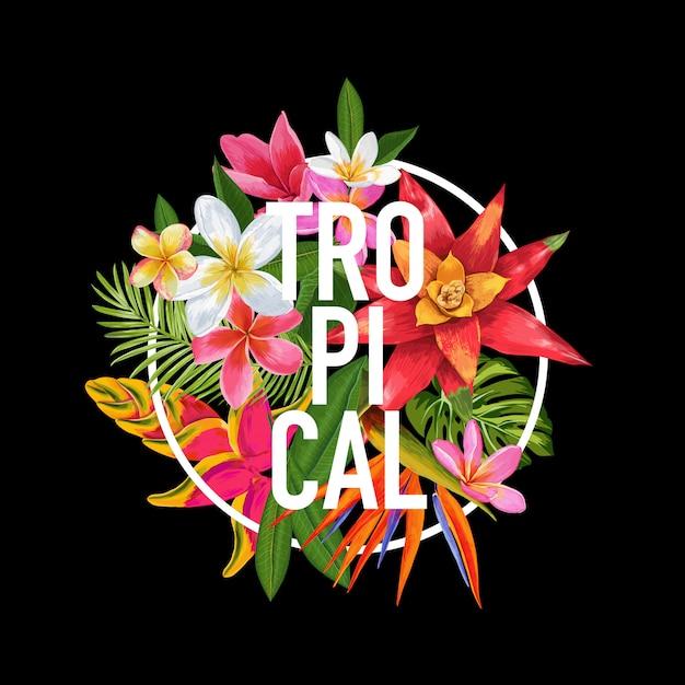 Design floral tropical. ilustração exótica das flores do plumeria Vetor Premium
