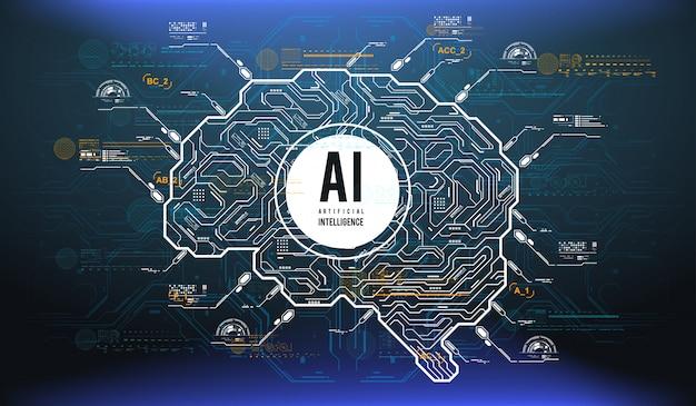 Design futurista de um cérebro de inteligência artificial com elementos futuristas de hud. Vetor Premium