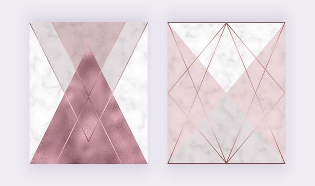 Design geométrico em mármore com textura de folha de ouro rosa e triangular rosa e cinza, linhas poligonais Vetor Premium