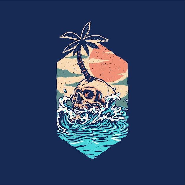 Design gráfico da camisa crânio verão praia t, isolado em fundo escuro Vetor Premium