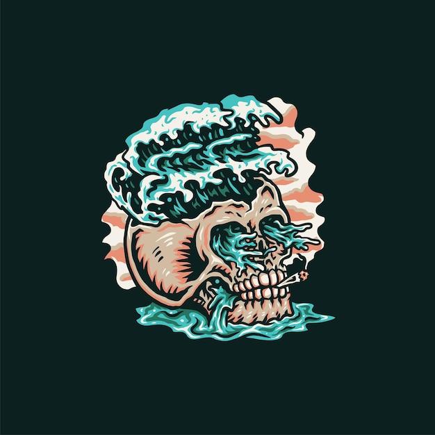 Design gráfico da camisa da praia do verão do crânio, estilo de linha desenhada à mão com cor digital Vetor Premium