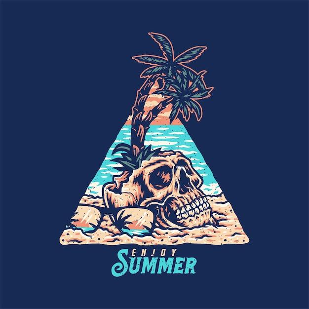 Design gráfico da camisa do crânio verão praia t, estilo de linha desenhada à mão com cor digital, ilustração vetorial Vetor Premium