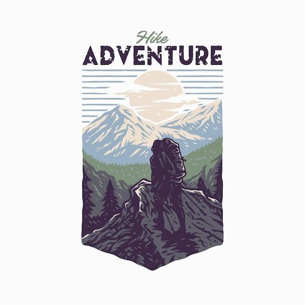 Design gráfico da camiseta hike adventure, estilo de linha desenhada à mão com cor digital Vetor Premium