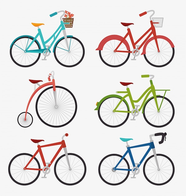 Design gráfico de bicicleta e ciclismo Vetor Premium