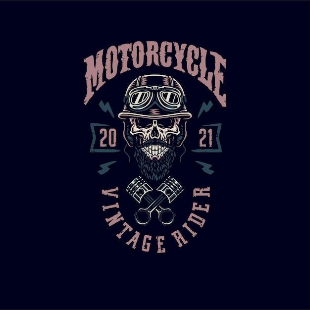 Design gráfico de camiseta vintage rider caveira, estilo de linha desenhada à mão com cor digital Vetor Premium