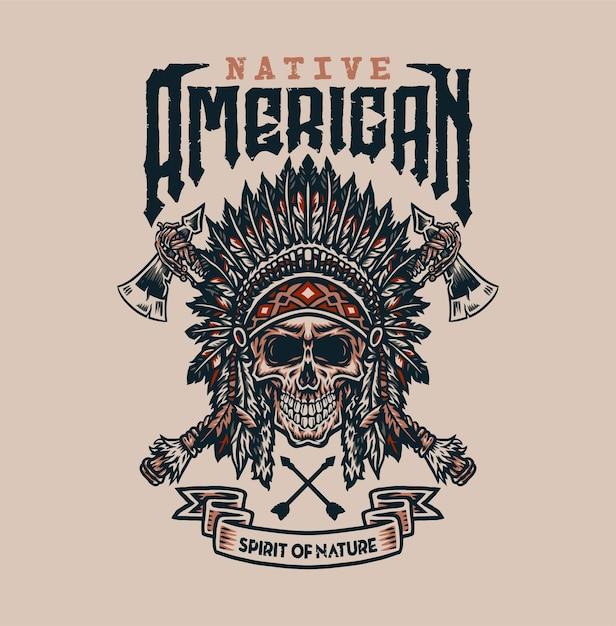 Design gráfico de camisetas nativas americanas, estilo de linha desenhada à mão com cor digital Vetor Premium