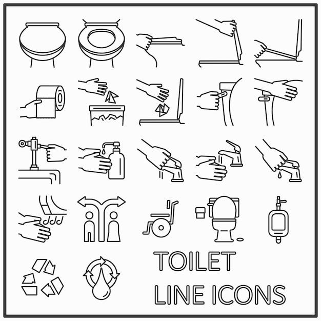 Design gráfico de ícones de linha de wc para decorações de padrão e mídia Vetor Premium