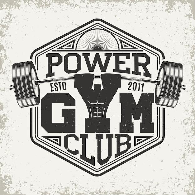Design gráfico de t-shirt vintage, carimbo com impressão grange, emblema de tipografia fitness, logótipo de desporto de ginásio. design criativo Vetor Premium