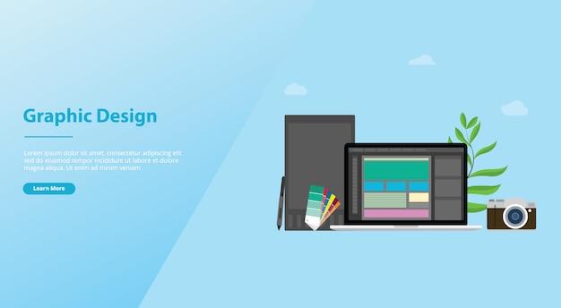 Design gráfico e conceito de designer com as pessoas da equipe e algumas ferramentas como pen tablet pantone para o modelo de site ou página inicial de aterragem Vetor Premium