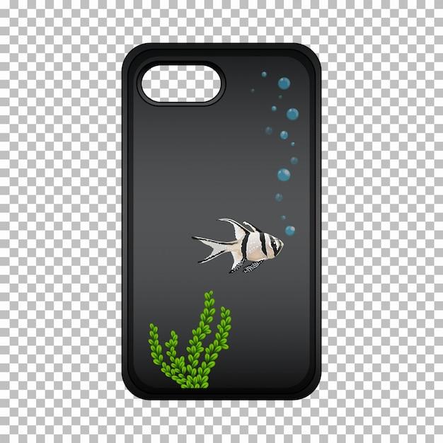 Design gráfico na caixa do telefone móvel com peixe bonito Vetor grátis