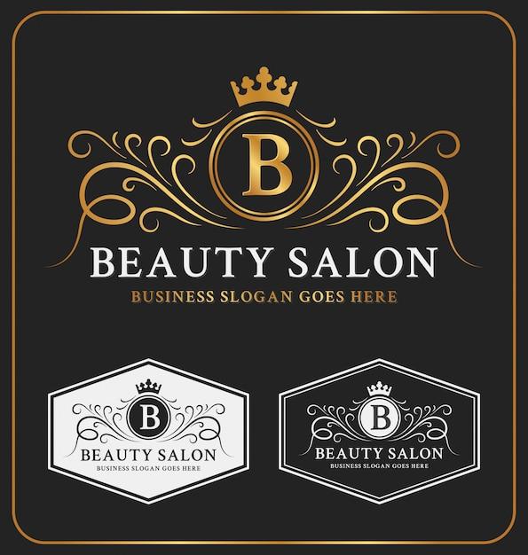 Design heráldico do molde do logotipo da crista do salão de beleza Vetor Premium