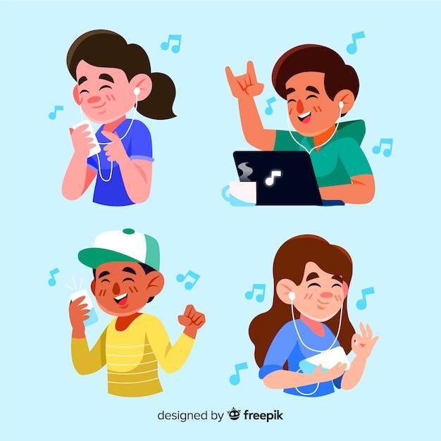 Design ilustrado com pessoas ouvindo música Vetor grátis