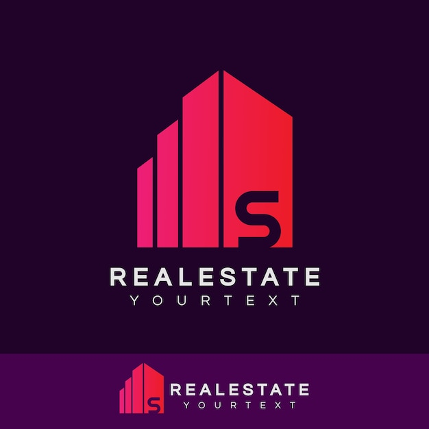 Design inicial do logotipo da letra s imobiliária Vetor Premium