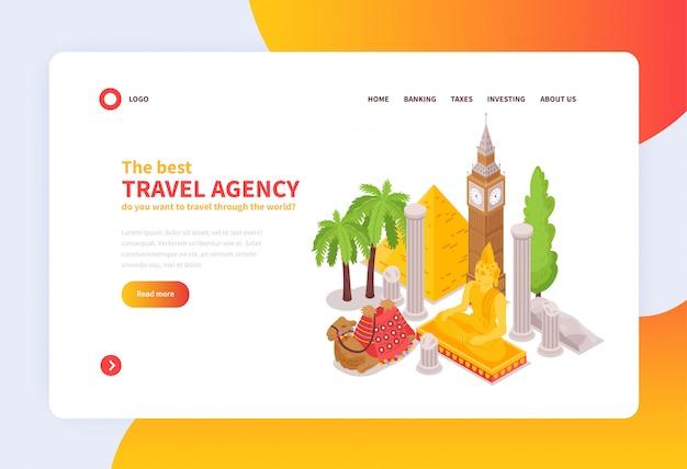 Design isométrico da home page do conceito de agência de viagens internacional on-line com atrações de monumentos famosos do mundo Vetor grátis