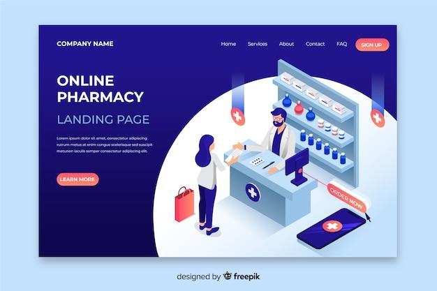 Design isométrico de página de destino de farmácia Vetor grátis